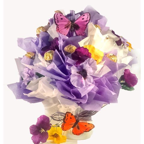 Flowers and Butterfly Rocher Chocolate Candy Bouquet