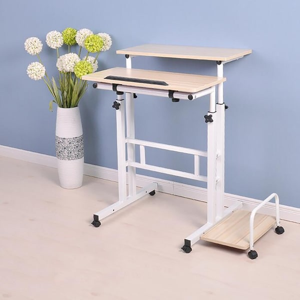 Mind Reader 2 Tier Adjustable Sit and Stand Desk, White