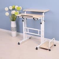 Mind Reader 2 Tier Adjustable Sit and Stand Desk, White