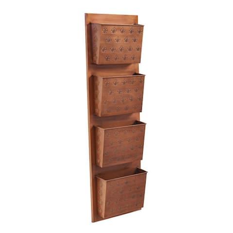 Taylor Four Slot Copper Fleur-de-lis Wall Mailbox