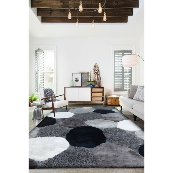 Handmade Grey with Navy Indoor Modern Shaggy Rug - 4' x 5'5