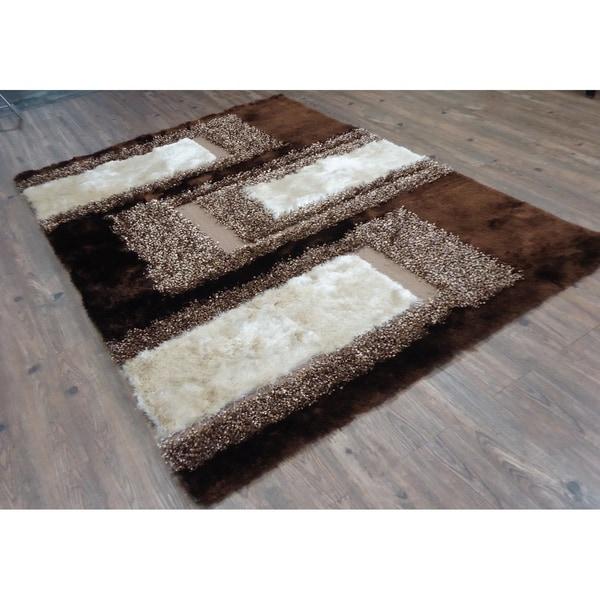 Handmade Multicolored Brown Indoor Modern Shag Rug - 4' x 5'4