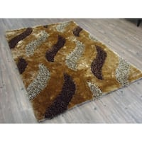 Handmade Multi Brown Indoor Modern Shaggy Rug - 4' x 5'21