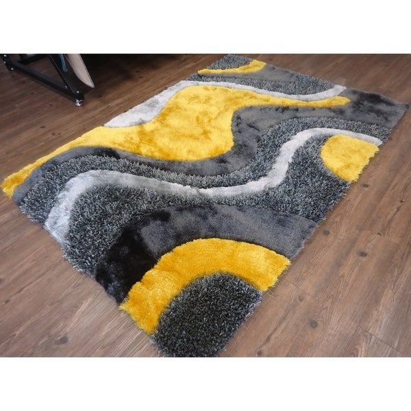 Handmade Grey with Yellow Indoor Modern Shaggy Rug - 4' x 5'17