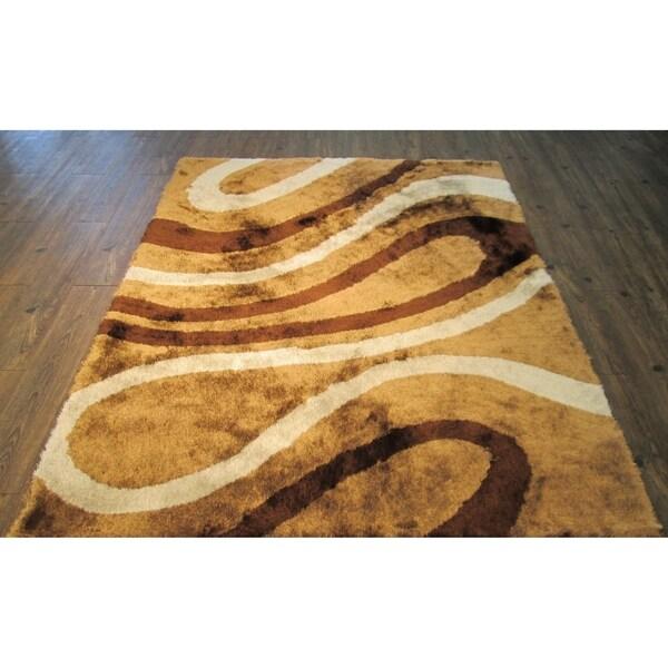 Handmade Brown Indoor Modern Shaggy Rug - 4' x 5'28