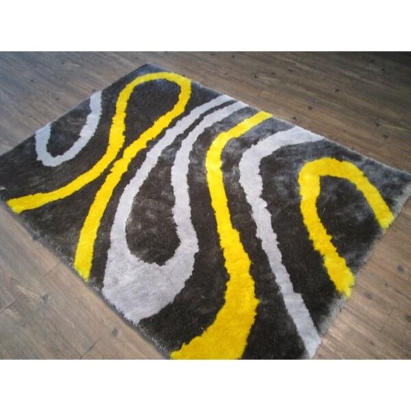 Handmade Grey with Yellow Indoor Modern Shaggy Rug - 4' x 5'30