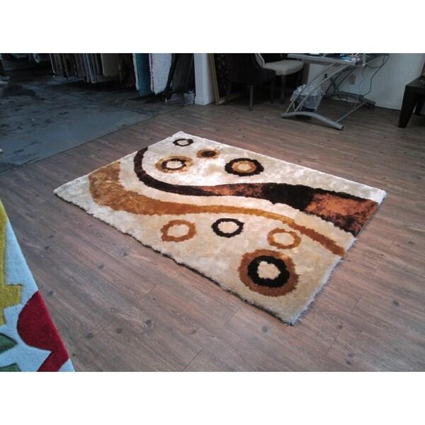 Handmade Multi Beige Indoor Modern Shaggy Rug - 4' x 5'31