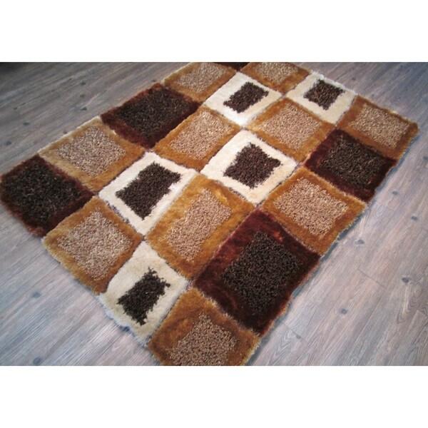 Handmade Brown Indoor Modern Shaggy Rug - 4' x 5'22