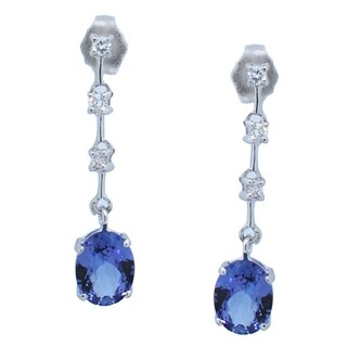 Kabella 14k White Gold Oval Tanzanite and Round Diamonds Dangle Earring - Purple