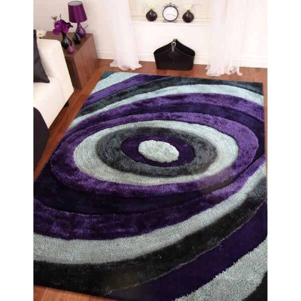 Handmade Grey with Purple 1.5 Inch Pile Height Shaggy Rug - 4' x 5'4
