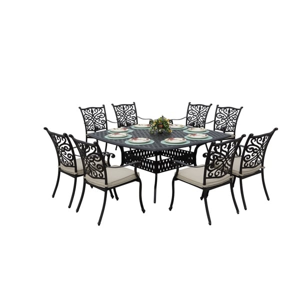 Casablanca 9 Piece Square Patio Dining Set   Antique Bronze