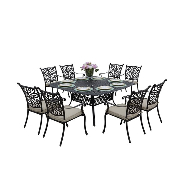 Casablanca Cast Aluminum 9 Piece Square Patio Dining Set - Antique Bronze