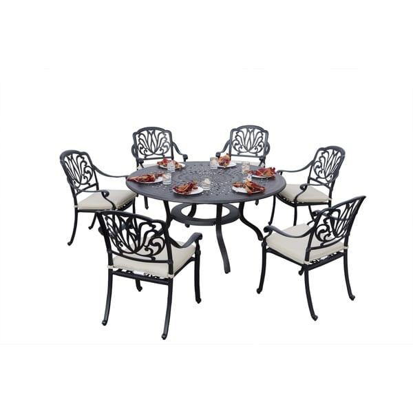 Stupendous Shop Sierra Madre Cast Aluminum 7 Piece Round Patio Dining Download Free Architecture Designs Intelgarnamadebymaigaardcom