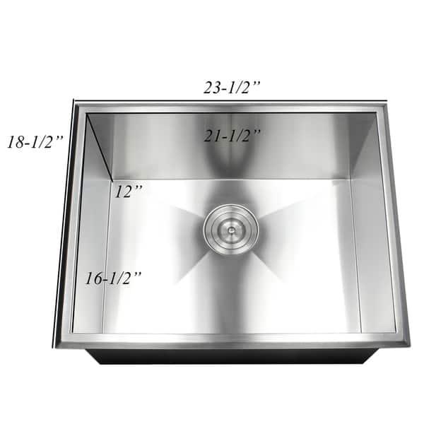 Shop 23-inch 16 Gauge Stainless Steel Single Bowl Topmount ...