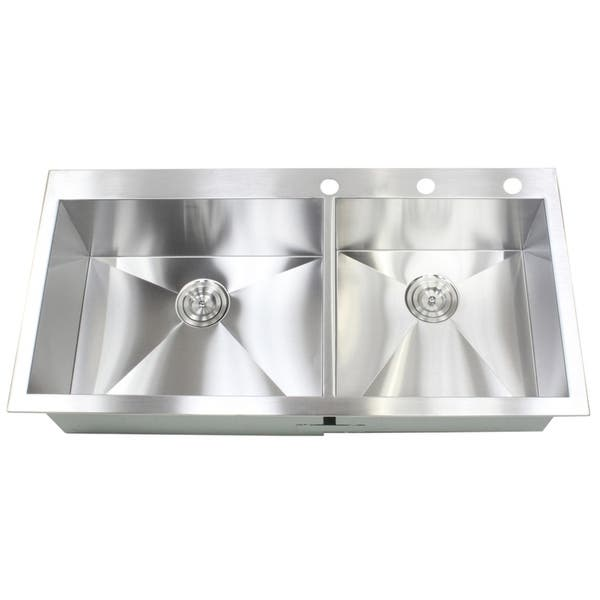Shop 43-inch 16 Gauge Stainless Steel Double Bowl 60/40 ...
