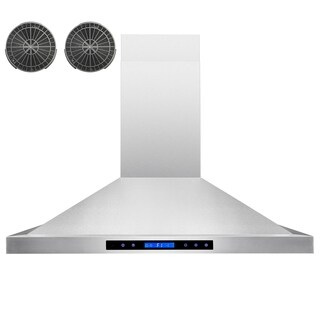 "AKDY RH0224 30"" European Stainless Steel Wall Mount Range Hood Stove Vent Touch Control with Carbon Filters"