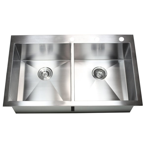 36-inch 16 Gauge Stainless Steel 50/50 Double Bowl Topmount Drop-in Zero Radius Kitchen Sink
