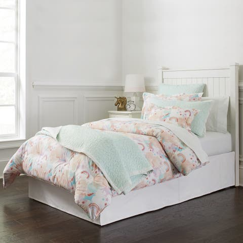 Lullaby Bedding Unicorn Printed Cotton 4-piece Comforter Set