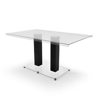 Furniture of America Ezreal Contemporary Tempered Glass Black Dining Table