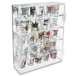 Ikee Design 4-Shelves Shot Glasses Display Case with Mirror