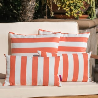 Link to Coronado Outdoor Striped Pillow (Set of 4) by Christopher Knight Home Similar Items in Outdoor Cushions & Pillows
