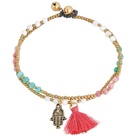 Handmade Stylish Hamsa Hand Tassel with Multi-Colored Stone Brass Beads Anklet - Blue/Pink/White (Thailand)