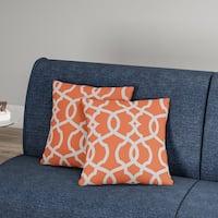Carson Carrington Holen Lattice Damask Tangerine 16.5-inch Throw Pillow