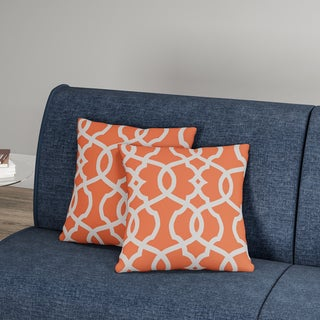 Carson Carrington Holen Lattice Damask Tangerine 16.5-inch Throw Pillow