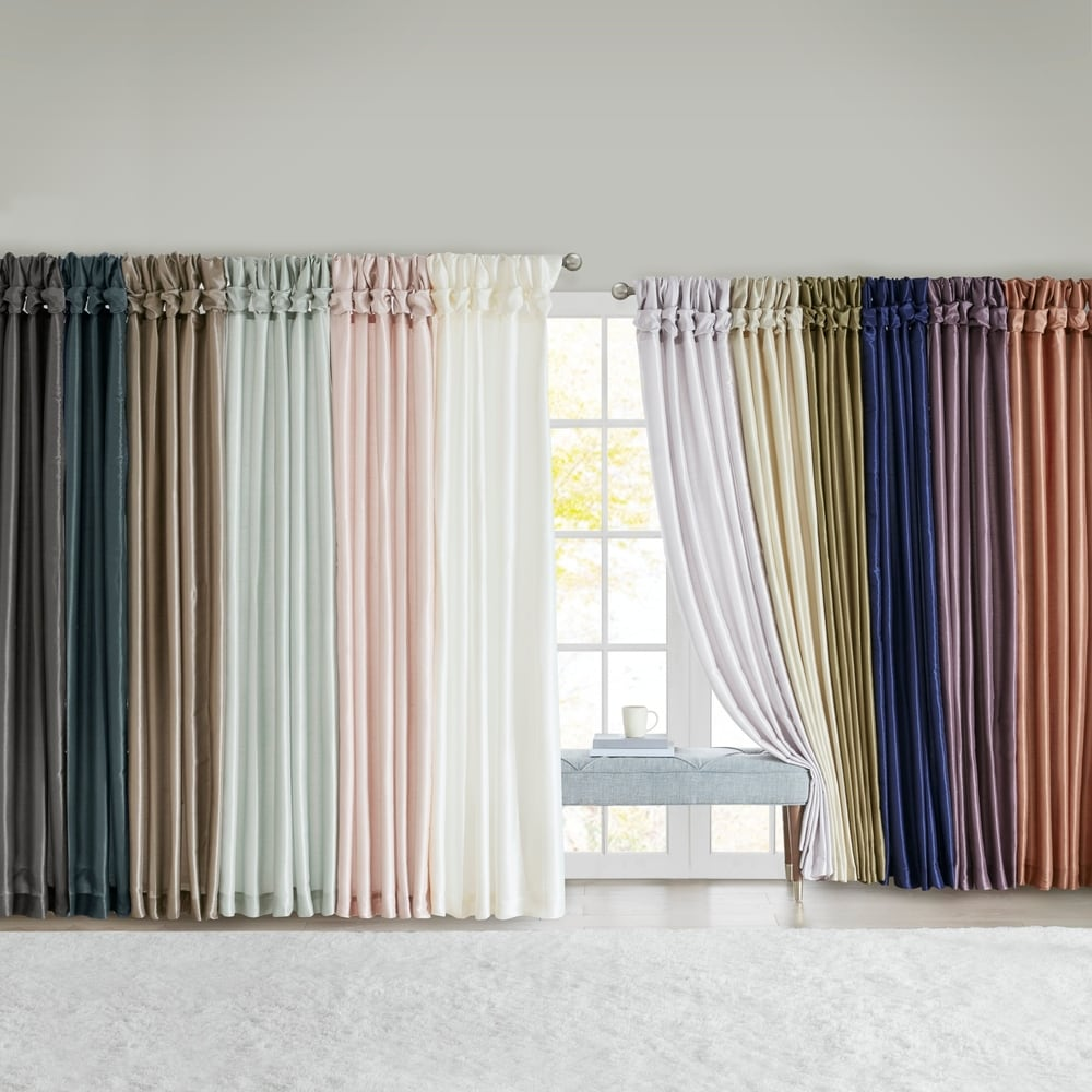 Pair of Striped 100/% Cotton Tab Top Curtain Panels 41 W X 80 L CREAM// PINKS