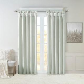 Madison Park Natalie Twisted Tab Lined Single Curtain Panel (50W x 108L - Dusty Aqua)