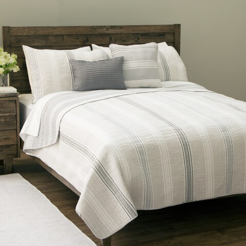 Sanibel Island Stripe 5-piece Cotton Quilt Set