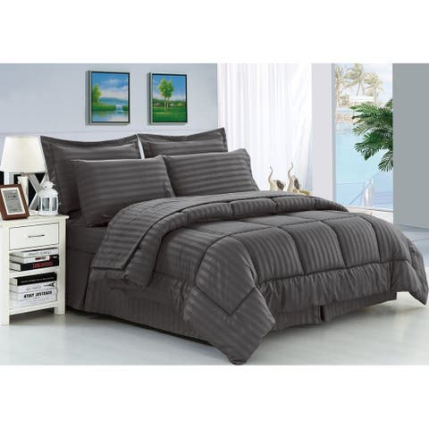 Porch & Den Lockhart Wrinkle Resistant Soft Striped Down Alternative 8-piece Bed in a Bag Set
