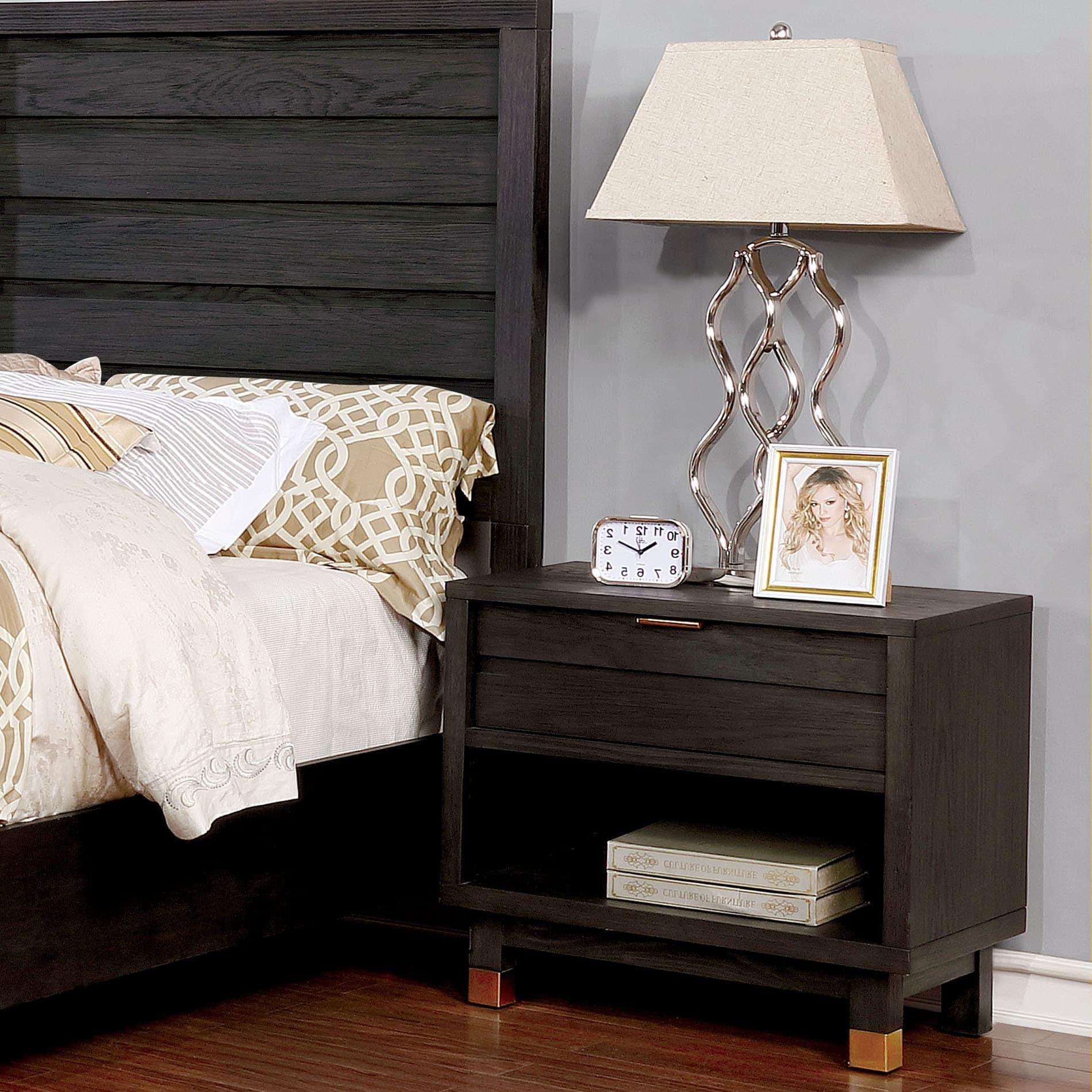 Furniture Of America Sere Contemporary Grey Solid Wood Nightstand