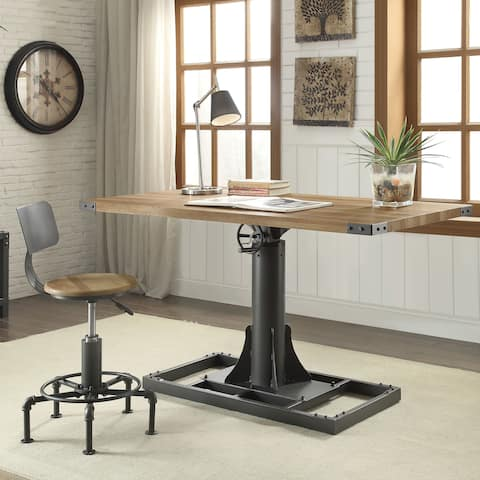 Furniture of America Malone Industrial Style 58-inch Height Adjustable Desk with Outlets