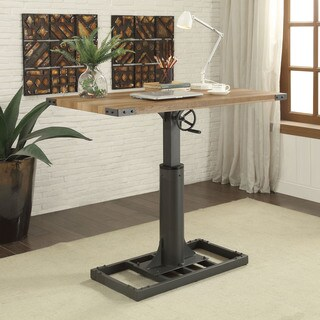 Furniture of America Malone Industrial Style 48-inch Height Adjustable Desk with Outlets