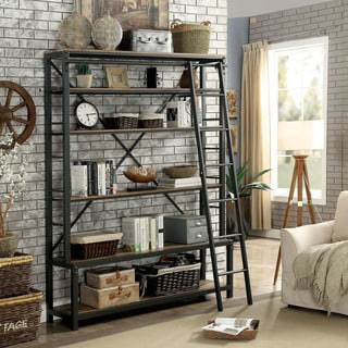 Furniture of America Diego Industrial Style Black 6-tier Display Shelf with Ladder