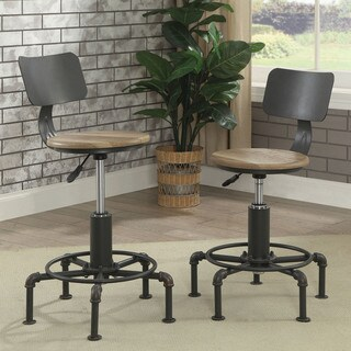 Furniture of America Charlie Industrial Style Sand Black Pipe-inspired Armless Chair (Set of 2)