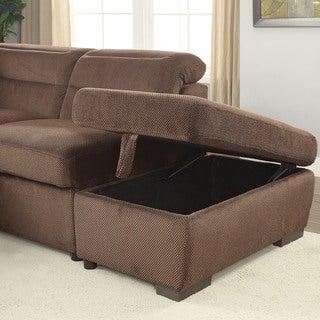 Furniture of America Alina Contemporary Chenille Storage Ottoman