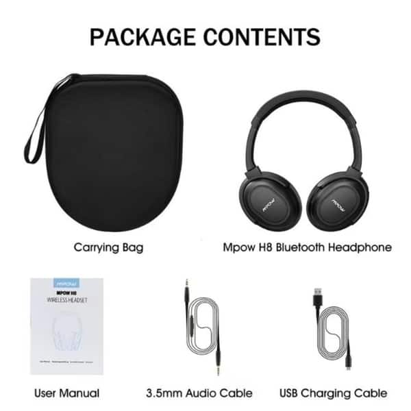 Shop Mpow H8 Bluetooth Headphones Wired Wireless Headphones With Mic Stereo Foldable Headset For Pc Cell Phones Tv Overstock 19891789