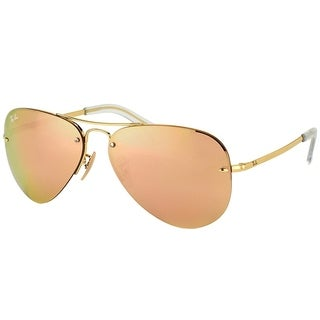 Ray-Ban Aviator RB 3449 001/2Y Unisex Gold Frame Rose Mirror Lens Sunglasses