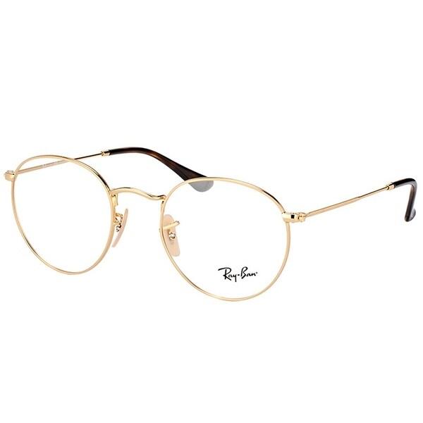 Shop Ray-Ban Round RX 3447V 2500 Unisex Gold Frame Eyeglasses - On ... 76f98b78ca