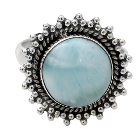 Handmade Sterling Silver 'Sea and Sky' Larimar Ring (India)