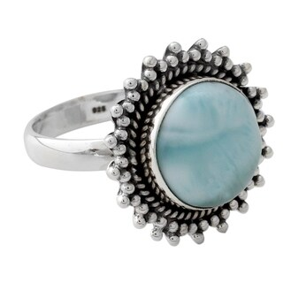 Handmade Sterling Silver 'Sea and Sky' Larimar Ring (India) (2 options available)