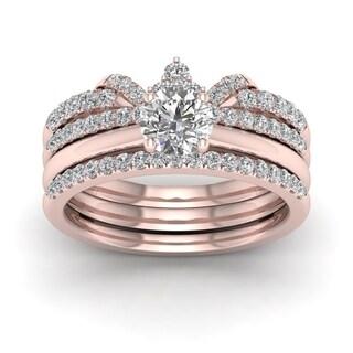 De Couer 14k Rose Gold 1ct TDW Diamond Crowned Bridal Set