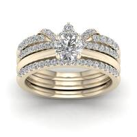 De Couer 14k Yellow Gold 1ct TDW Diamond Crowned Bridal Set