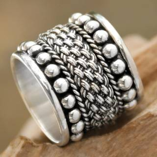 Handmade Sterling Silver 'Moonlight Rivers' Ring (Indonesia)