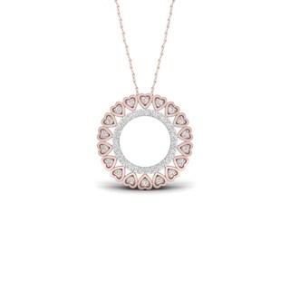 De Couer 10k Rose Gold 1/6ct TDW Diamond Filigree Circle Necklace
