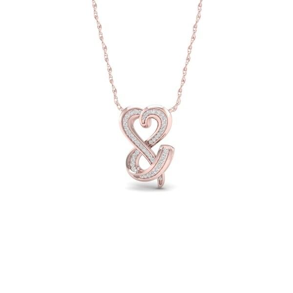 6c9b5a6901266 Shop De Couer 10k Rose Gold 1/6ct TDW Diamond Heart Necklace - On ...
