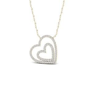De Couer 10k Yellow Gold 1/4ct TDW Diamond Double Heart Necklace
