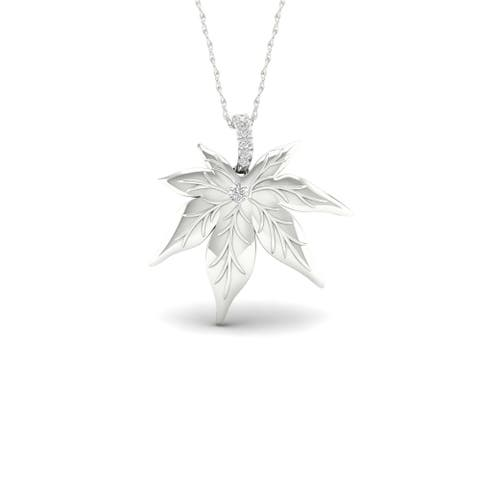 De Couer S925 Sterling Silver 1/20ct TDW Diamond Maple Leaf Necklace